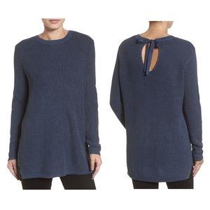 Caslon Tie Back Blue Tunic Sweater